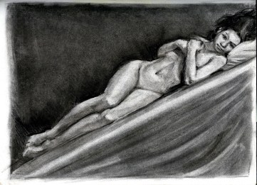 (Sketchbook 2005-7) - Meghan My Love - Charcoal
